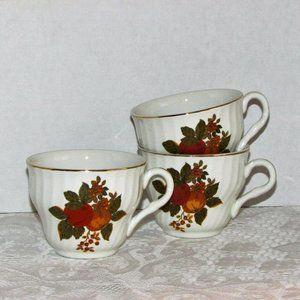 WEDGWOOD ENGLISH HARVEST Teacups 3 Coffee Cups